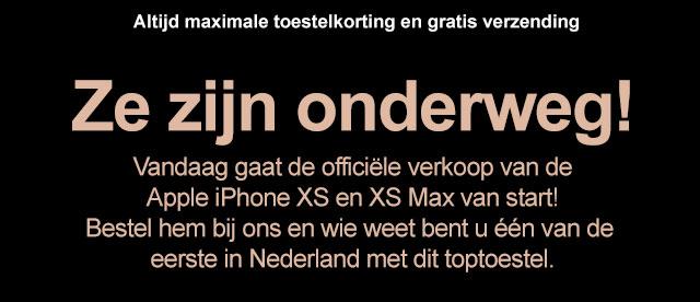 Ze zijn onderweg! Vandaag gaat de officiële verkoop van deApple iPhone XS en XS Max van start!Bestel hem bij ons en wie weet bent u één van de eerste in Nederland met dit toptoestel.