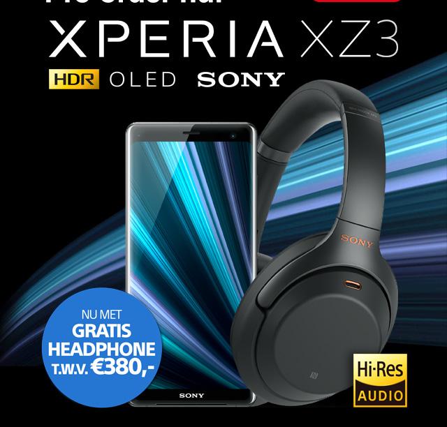 De SONY Xperia XZ3 Nu met Gratis headphone t.w.v. 380 Euro!