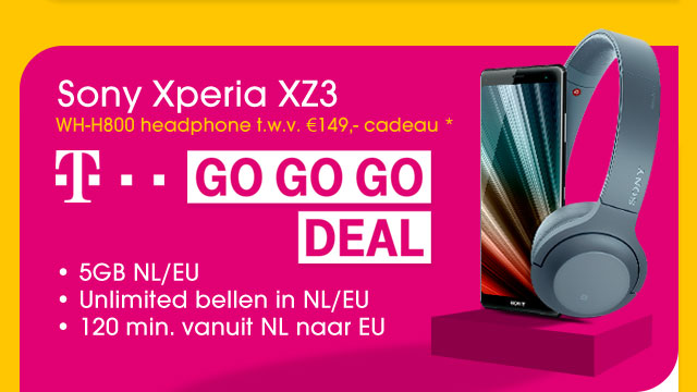 T-Mobile GO GO GO DEAL met de Sony XZ3 plus gratis headphone!