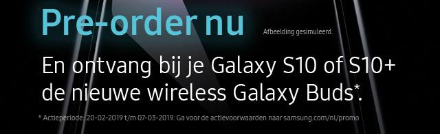 En ontvang bij je Galaxy S10 of S10+ de nieuwe wireless Galaxy Buds*.